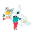 woman working in printing house or advertising vector image