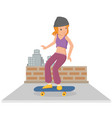 young girl playing skateboard in flat style vector image