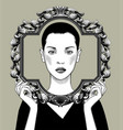 young woman with a decorative frame vector image