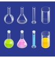 Chemical test tube pictogram icons set Erlenmeyer vector image