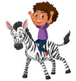 a boy riding a zebra vector image