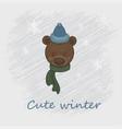 a cartoon cute brown bear vector image vector image