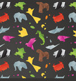 animals origami pattern black vector image vector image