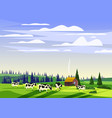 beautiful countryside summer landscape herd of vector image vector image