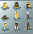 beer color gradient isometric icons vector image vector image