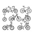 bicycle set sketch engraving vector image