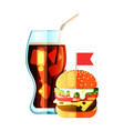 burger and soda flat design color icon vector image