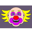 cheerful clown with yellow hair cartoon vector image vector image