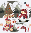 christmas pattern with plush bears and xmas trees vector image