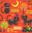 colorful autumn seamless pattern with black cats vector image vector image