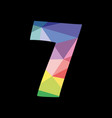 colorful number 7 isolated on black background vector image