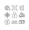 Communication minimize and cash icons lock sign vector image