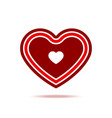 cute red heart with shadow isolated icon vector image