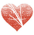 Damaged love heart grunge texture icon vector image