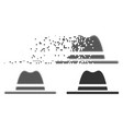 disintegrating pixel halftone hat icon vector image vector image