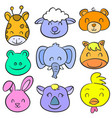 doodle of animal smile cute collection vector image vector image