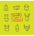 doodle style farm animals icons set Cute vector image vector image