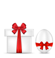 Easter gift box with red bow and egg vector image vector image