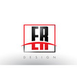 er e r logo letters with red and black colors and vector image vector image