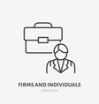 firm and individuals flat line icon businessman vector image vector image