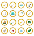 Fishing cartoon icon circle vector image