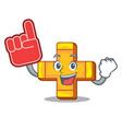 foam finger plus sign isolated on the mascot vector image