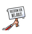 freedom for belarus on poster protests vector image vector image