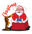 funny cartoon santa claus stuck in chimney vector image