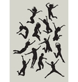 Girl jumping silhouettes vector image vector image