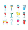 glass icon set cartoon style vector image