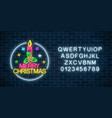 glowing neon christmas sign with holly xmas vector image