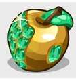 Golden apple with emerald stones symbol vector image