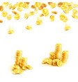 golden rain of money and stack of gold coin poster vector image