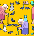 grandmother feeds pigeons pattern grandma and cat vector image vector image