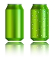 Green aluminum cans with drops realistic style vector image