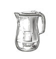 hand-drawn filter pitcher with clean water vector image vector image