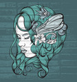 hand drawn young lady with flowers cute vector image