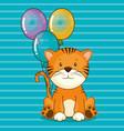happy birthday card with cute tiger vector image vector image