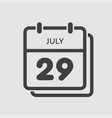 icon calendar day 29 july summer days year vector image vector image