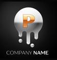 letter p splash logo golden dots silver bubbles vector image vector image