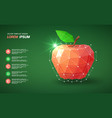 low poly red apple on green background vector image vector image