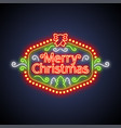 merry christmas neon sign on dark vector image vector image