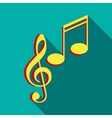 Music key and notes icon flat style vector image