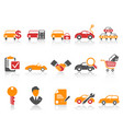 orange red color series car dealer icons set vector image
