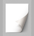 page curl with shadow on blank sheet paper vector image vector image