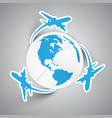 paper planes and earth vector image vector image