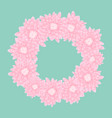 pink chrysanthemum wreath vector image vector image