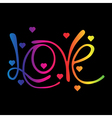 Rainbow Love Word and hearts vector image vector image
