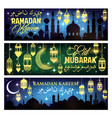 ramadan kareem banner with islam mosque and moon vector image