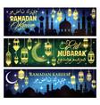 ramadan kareem banner with islam mosque and moon vector image vector image